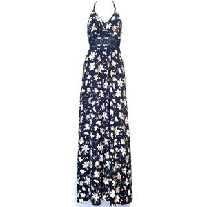 CALS | Navy Blue Floral T Back Maxi Dress L
